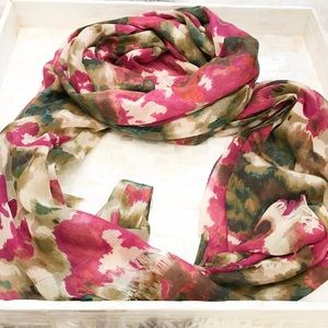 Accessories - Watercolor Floral Print Scarf Wrap